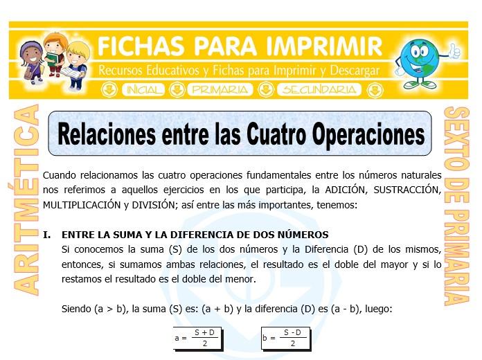 Ficha de Relaciones entre las Cuatro Operaciones