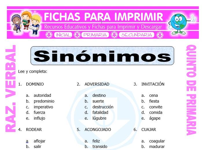 Ficha de Sinónimos Ejercicios para Quinto de Primaria