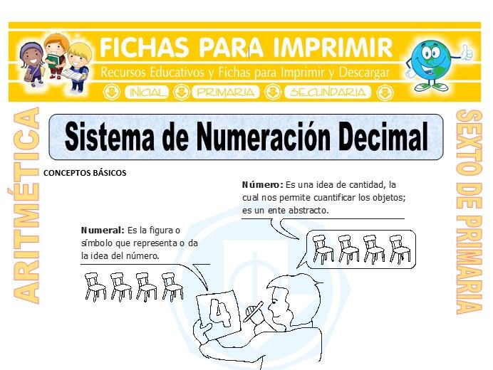 Ficha de Sistema de Numeración Decimal para Sexto de Primaria
