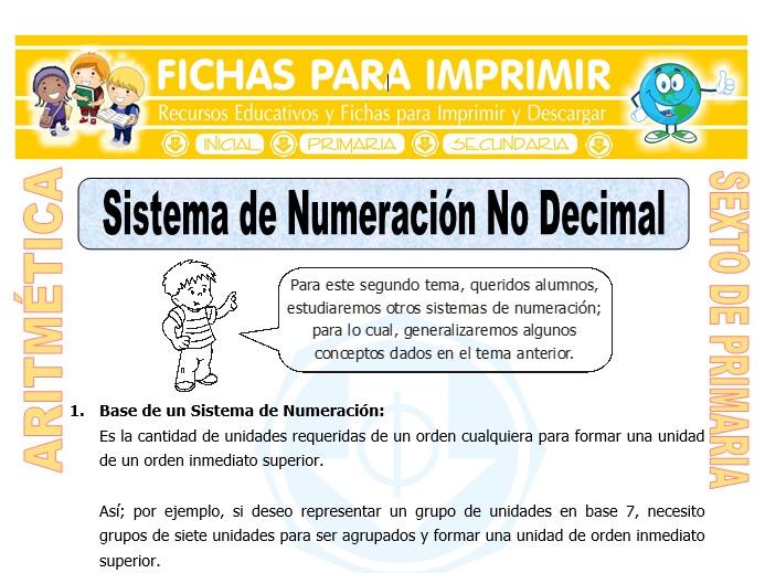 Ficha de Sistema de Numeración No Decimal para Sexto de Primaria