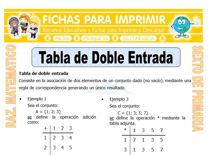 Ficha de Tabla de Doble Entrada para Sexto de Primaria