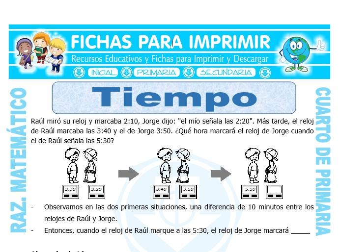Ficha de Tiempo para Cuarto de Primaria