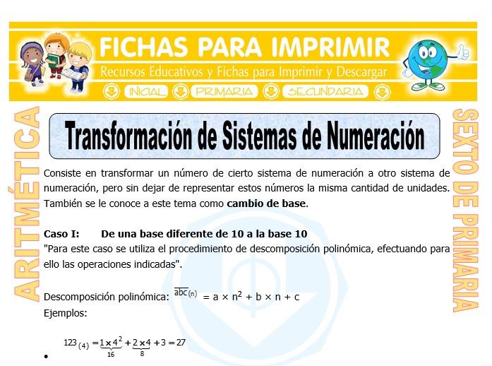 Ficha de Transformación de Sistemas de Numeración para Sexto de Primaria