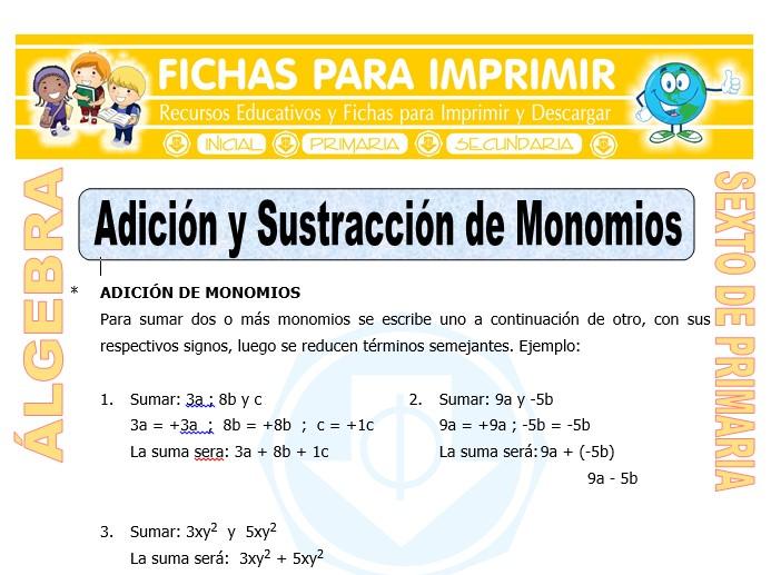 Ficha de Adición y Sustracción Algebraicas de Monomios para Sexto de Primaria
