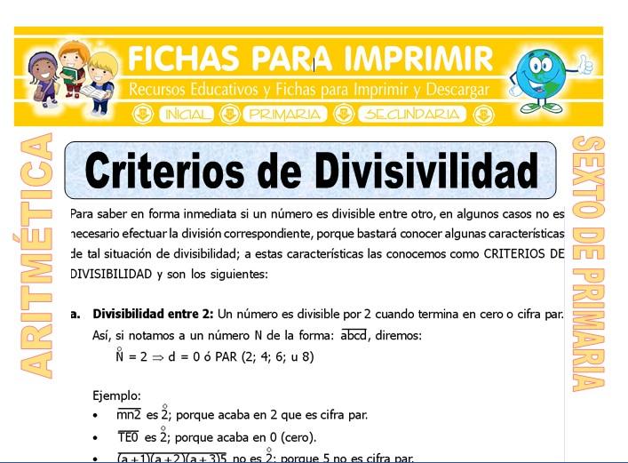 Ficha de Criterios de Divisibilidad para Sexto de Primaria