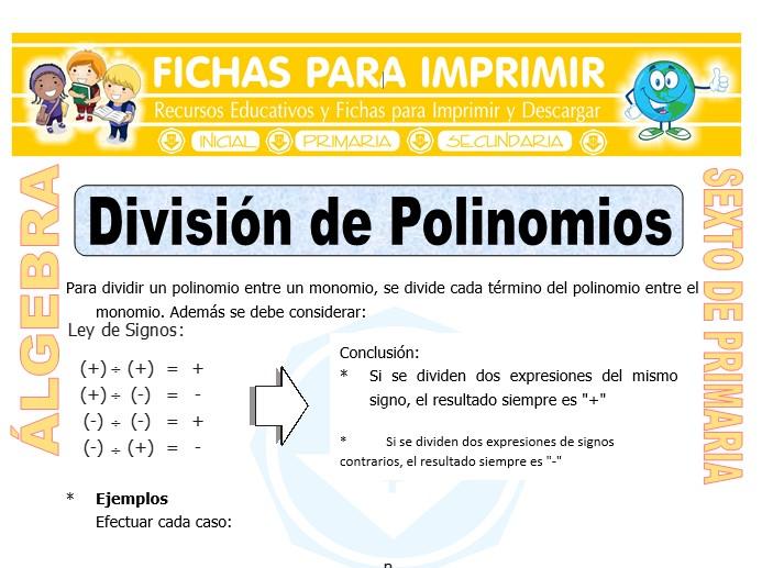 Ficha de División de Polinomios para Sexto de Primaria