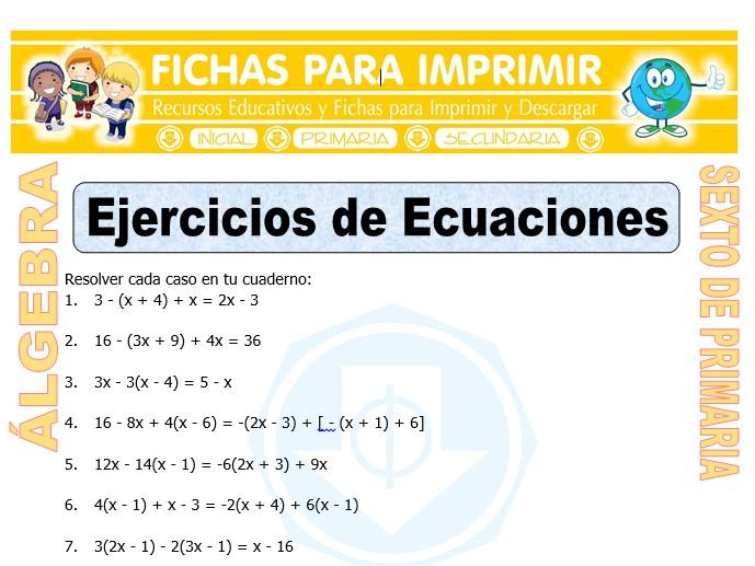 Ficha de Ecuaciones ejercicios para Sexto de Primaria