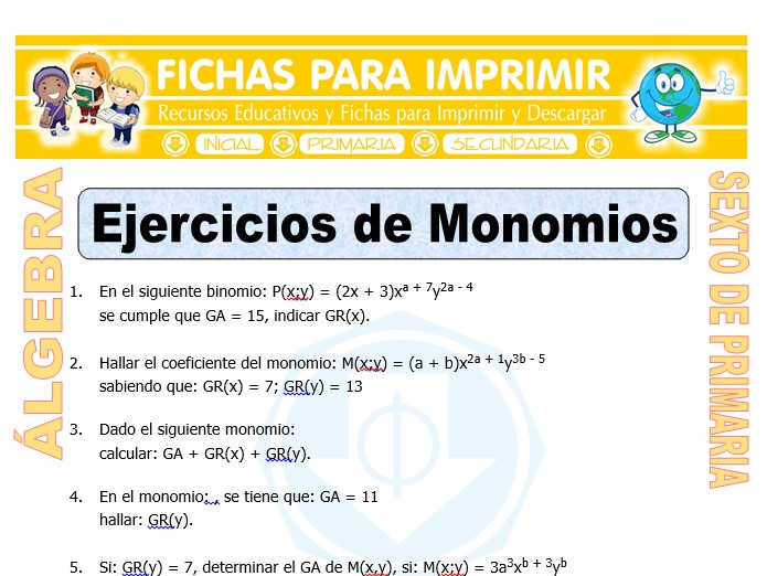 Ficha de Ejercicios de Monomios para Sexto de Primaria