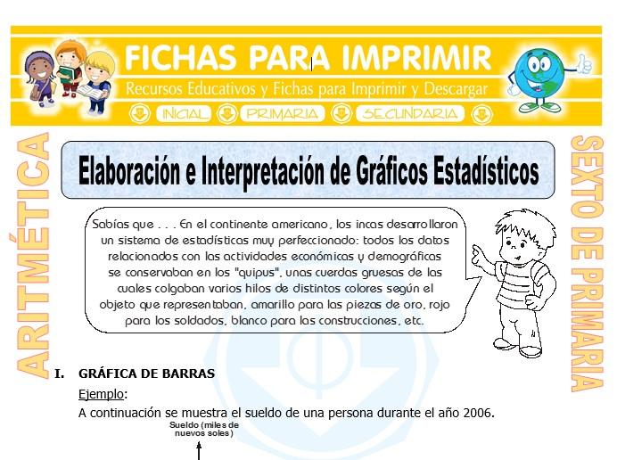 Ficha de Elaboración e Interpretación de Gráficos Estadísticos para Sexto de Primaria