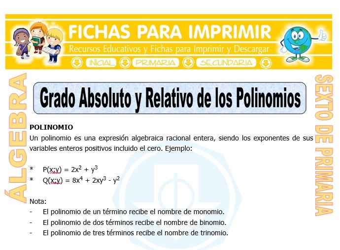Ficha de Grado Absoluto y Relativo de los Polinomios para Sexto de Primaria