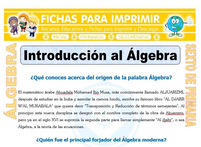 Ficha de Introducción al Álgebra para Sexto de Primaria