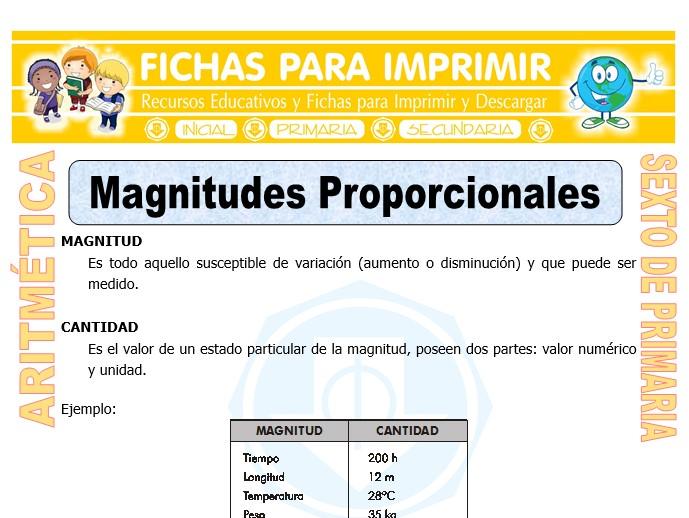 Ficha de Magnitudes Proporcionales para Sexto de Primaria