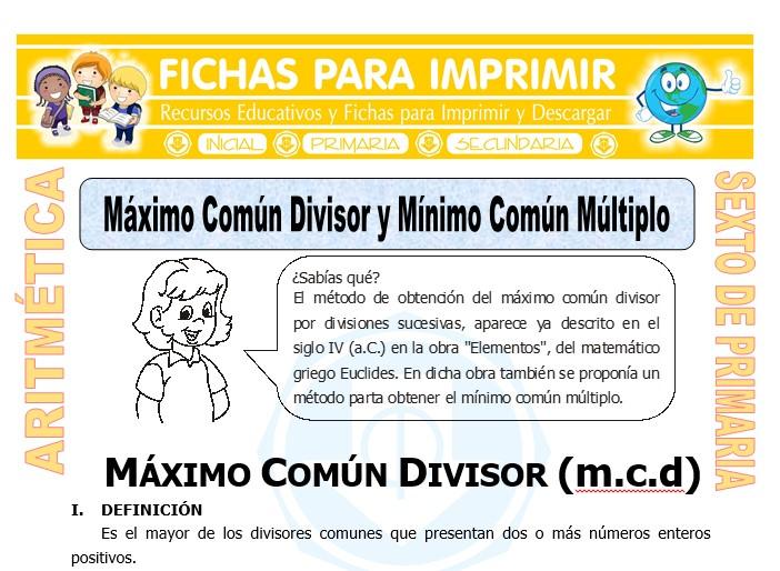 Ficha de Máximo Común Divisor y Mínimo Común Múltiplo para Sexto de Primaria