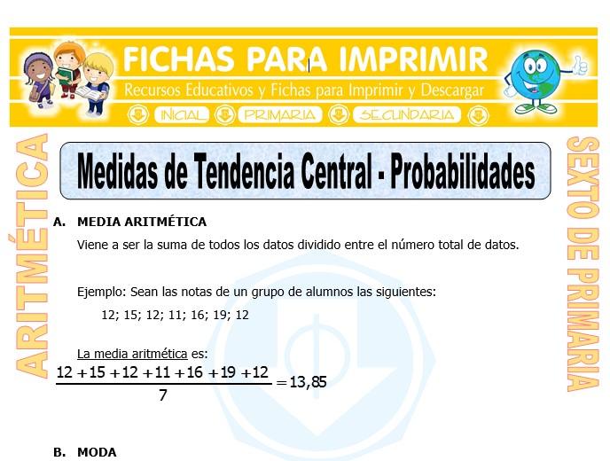 Ficha de Medidas de Tendencia Central para Sexto de Primaria