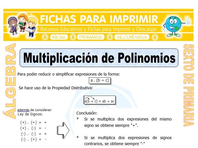 Ficha de Multiplicación de Polinomios para Sexto de Primaria