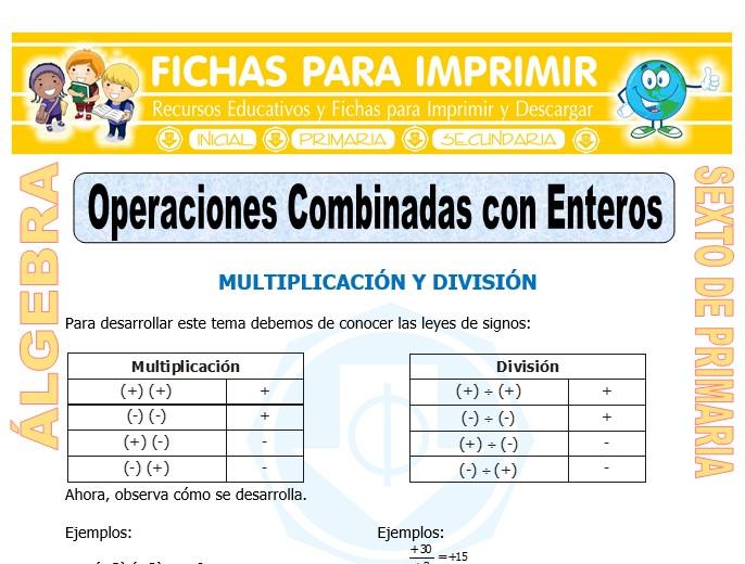 Ficha de Operaciones Combinadas con Enteros para Sexto de Primaria