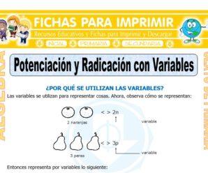 Potenciación y Radicación con Variables para Sexto de Primaria