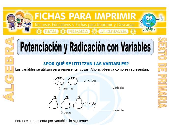 Ficha de Potenciación y Radicación con Variables para Sexto de Primaria