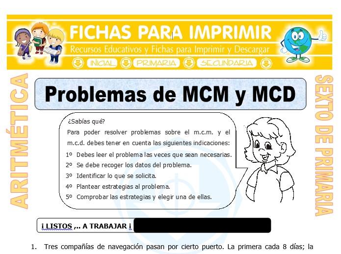 Ficha de Problemas de MCM y MCD para Sexto de Primaria