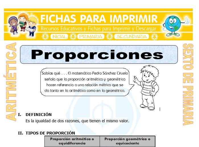 Ficha de Proporciones para Sexto de Primaria