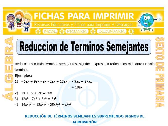 Ficha de Reducción de Términos Semejantes para Sexto de Primaria
