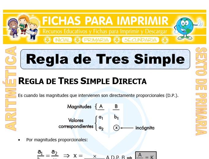 Ficha de Regla de Tres Simple para Sexto de Primaria