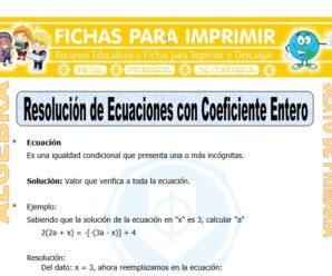 Resolución de Ecuaciones con Coeficiente Entero para Sexto de Primaria