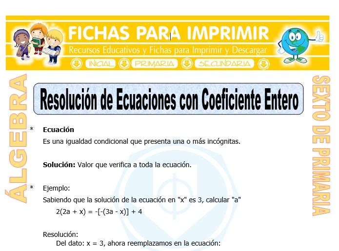 Ficha de Resolución de Ecuaciones con Coeficiente Entero para Sexto de Primaria