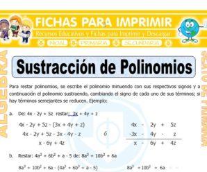 Sustracción de Polinomios para Sexto de Primaria