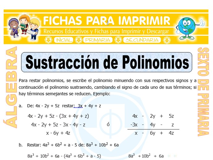 Ficha de Sustracción de Polinomios para Sexto de Primaria