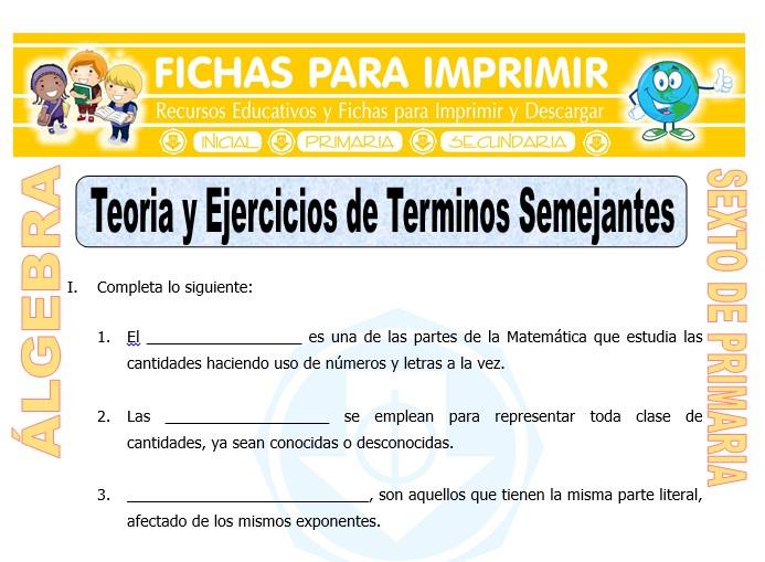 Ficha de Teoría y Ejercicios de Términos Semejantes para Sexto de Primaria